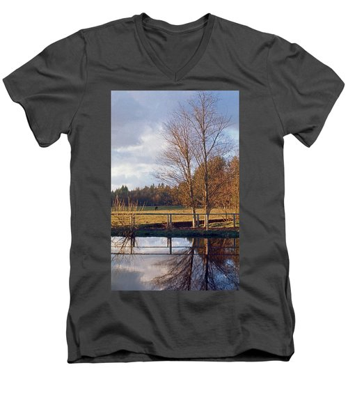 Men's V-Neck T-Shirt featuring the photograph Pasture Pond by Laurie Stewart