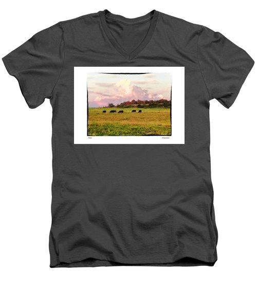 Pasture Men's V-Neck T-Shirt by R Thomas Berner