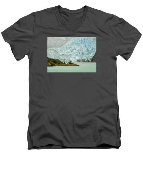 Men's V-Neck T-Shirt featuring the photograph Patagonia Glacier by Alan Toepfer