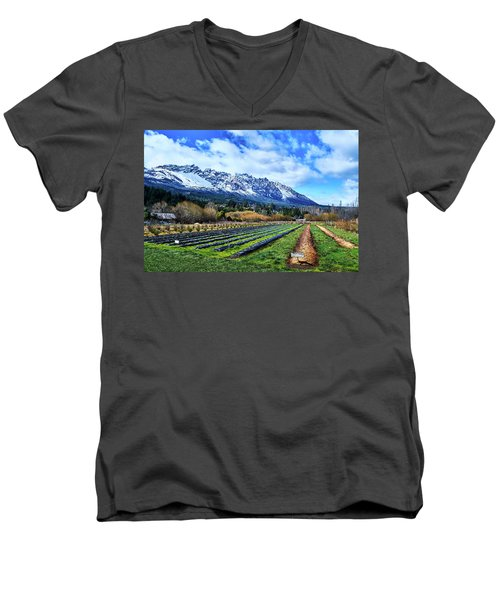 Landscape With Mountains And Farmlands In The Argentine Patagonia Men's V-Neck T-Shirt