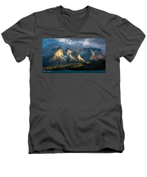 Men's V-Neck T-Shirt featuring the photograph Patagonian Sunrise by Andrew Matwijec