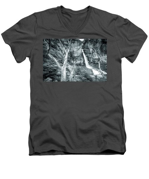 Patagonian Waterfall Men's V-Neck T-Shirt by Andrew Matwijec