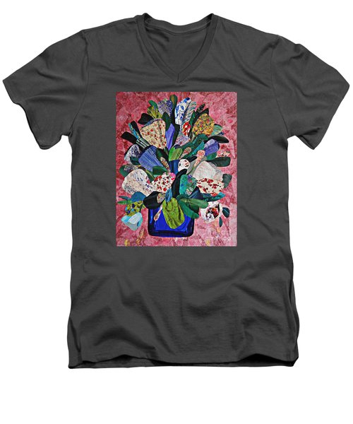 Patchwork Bouquet Men's V-Neck T-Shirt by Sarah Loft