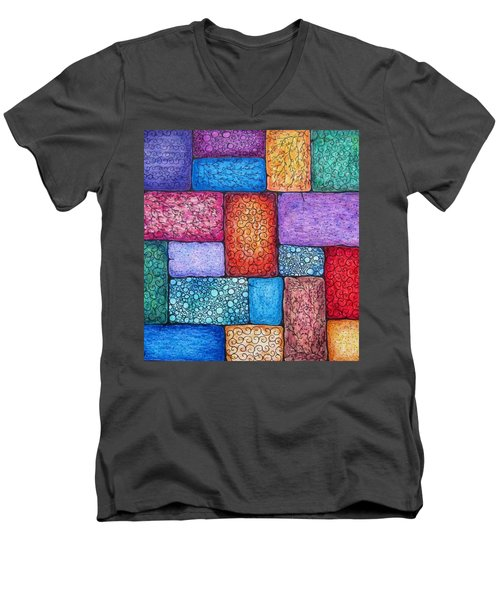 Patchwork Men's V-Neck T-Shirt