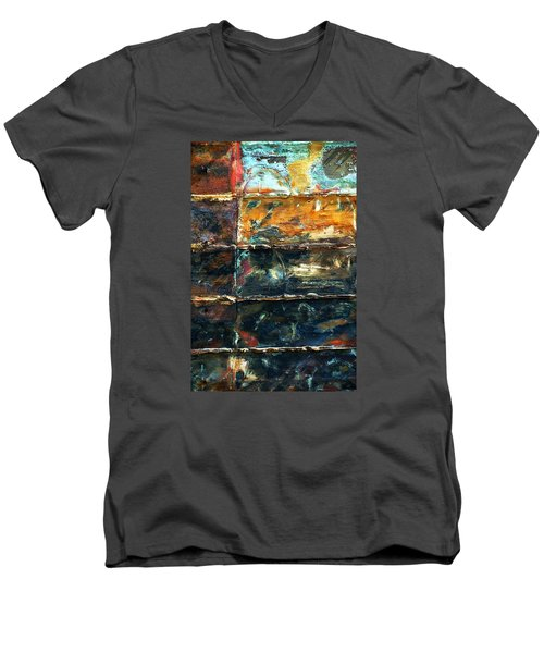 Patchworks 3 Men's V-Neck T-Shirt by Newel Hunter