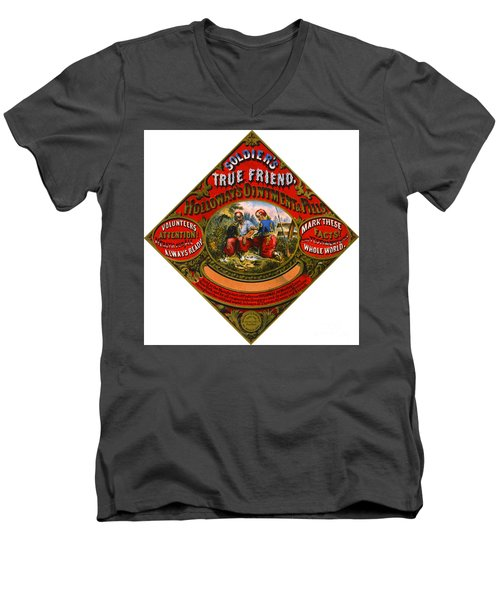 Men's V-Neck T-Shirt featuring the photograph Patent Medicine Label 1862 by Padre Art
