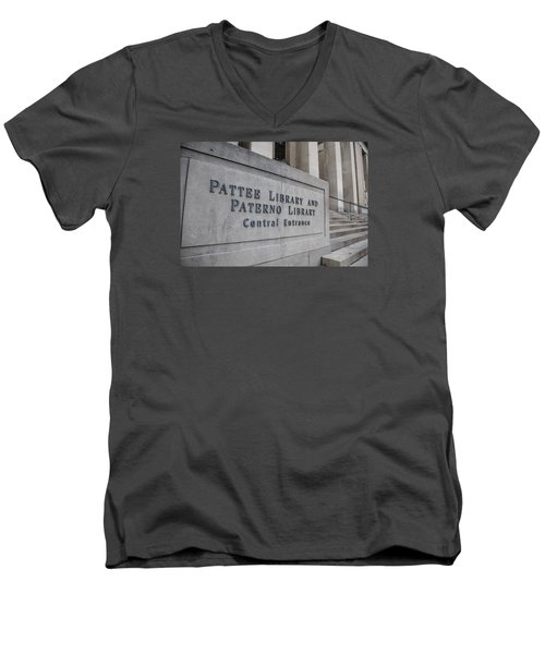 Paterno Library At Penn State  Men's V-Neck T-Shirt by John McGraw