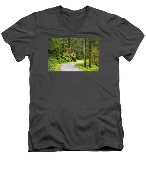 Men's V-Neck T-Shirt featuring the photograph Path In The Forest by Yuri Santin