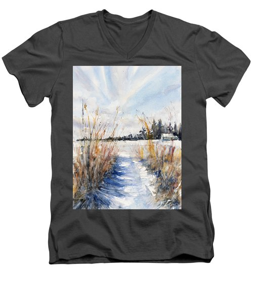 Path Shadows In The Way Back Men's V-Neck T-Shirt by Judith Levins
