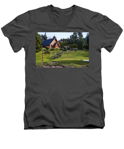 Rustic Church Surrounded By Trees In The Argentine Patagonia Men's V-Neck T-Shirt