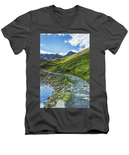 Path To Snowdon Men's V-Neck T-Shirt by Ian Mitchell