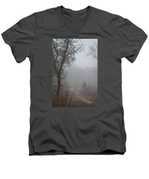 Men's V-Neck T-Shirt featuring the photograph Pathway In The Fogs Of Life by Carolina Liechtenstein