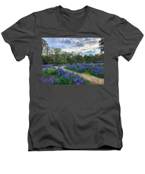 Pathway Through The Flowers Men's V-Neck T-Shirt