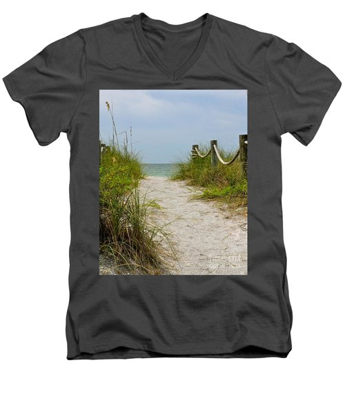 Pathway To The Beach Men's V-Neck T-Shirt by Carol  Bradley