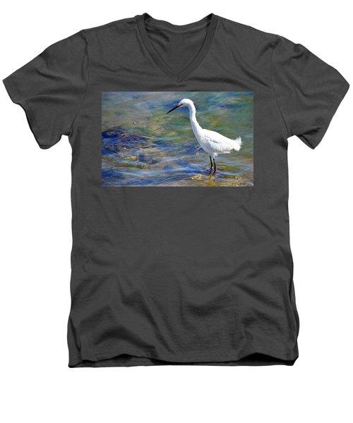 Men's V-Neck T-Shirt featuring the photograph Patient Egret by AJ Schibig