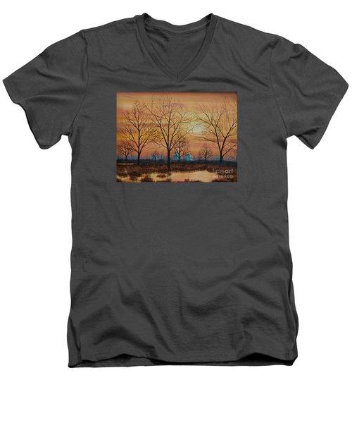 Patomac River Sunset Men's V-Neck T-Shirt by AnnaJo Vahle