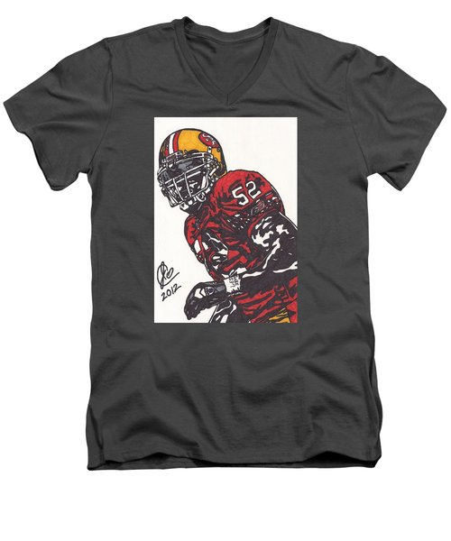 Men's V-Neck T-Shirt featuring the drawing Patrick Willis by Jeremiah Colley