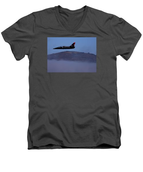 Patriot Jet Skims The Fog Over San Francisco Bay Men's V-Neck T-Shirt