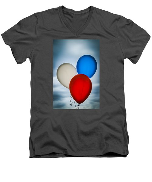 Men's V-Neck T-Shirt featuring the photograph Patriotic Balloons by Carolyn Marshall