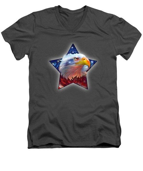 Patriotic Eagle Star Men's V-Neck T-Shirt