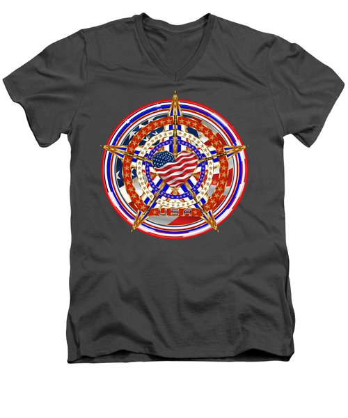 Patriotic For You America Where It Loud And Proud Men's V-Neck T-Shirt by Bill Campitelle