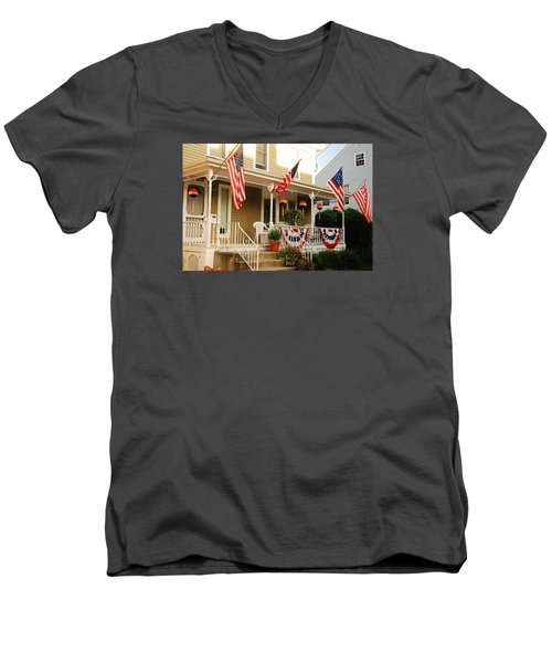 Patriotic Home Men's V-Neck T-Shirt by James Kirkikis