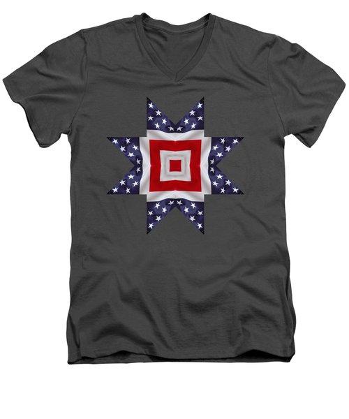 Patriotic Star 1 - Transparent Background Men's V-Neck T-Shirt by Jeff Kolker