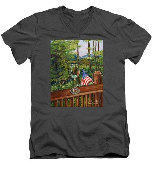 Star Spangled Wine - Fourth Of July - Blue Ridge Mountains Men's V-Neck T-Shirt