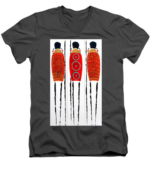 Patterned Masai Triptych Men's V-Neck T-Shirt