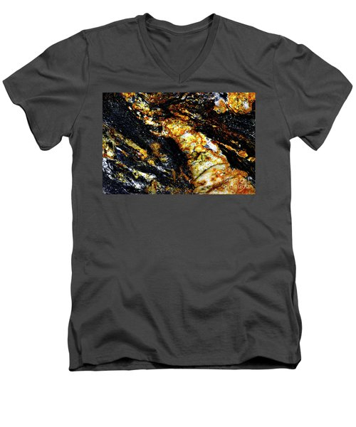Men's V-Neck T-Shirt featuring the photograph Patterns In Stone - 190 by Paul W Faust - Impressions of Light
