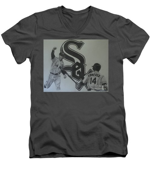 Men's V-Neck T-Shirt featuring the drawing Paul Konerko Collage by Melissa Goodrich