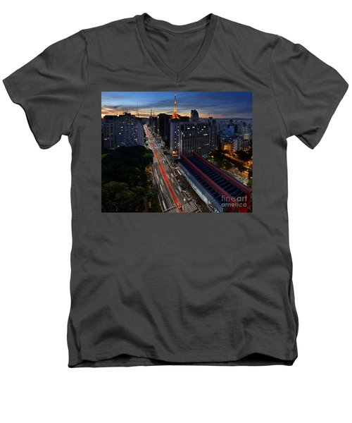 Paulista Avenue And Masp At Dusk - Sao Paulo - Brazil Men's V-Neck T-Shirt