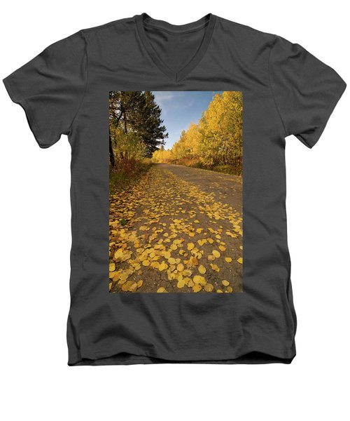 Men's V-Neck T-Shirt featuring the photograph Paved In Gold by Steve Stuller