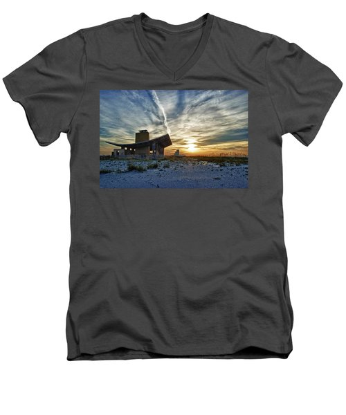 Pavillion And The Beach Men's V-Neck T-Shirt by Michael Thomas