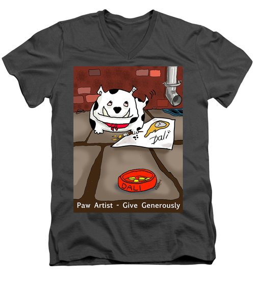 Paw Artist Give Generously Men's V-Neck T-Shirt