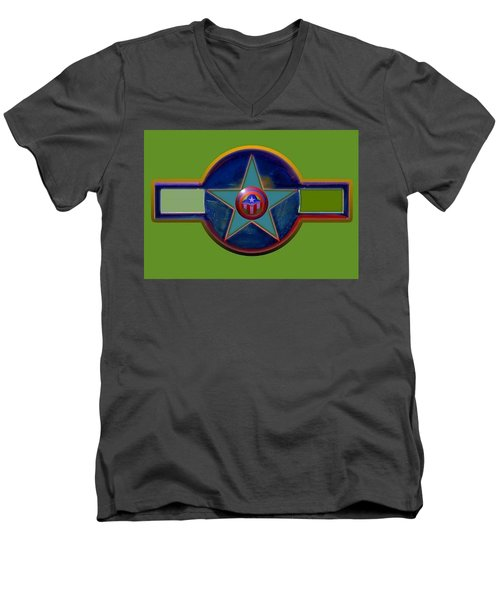 Men's V-Neck T-Shirt featuring the digital art Pax Americana Decal by Charles Stuart