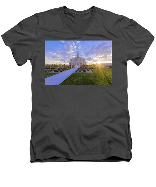 Men's V-Neck T-Shirt featuring the photograph Payson Temple I by Chad Dutson