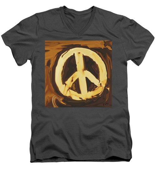 Peace 2 Men's V-Neck T-Shirt by Rabi Khan