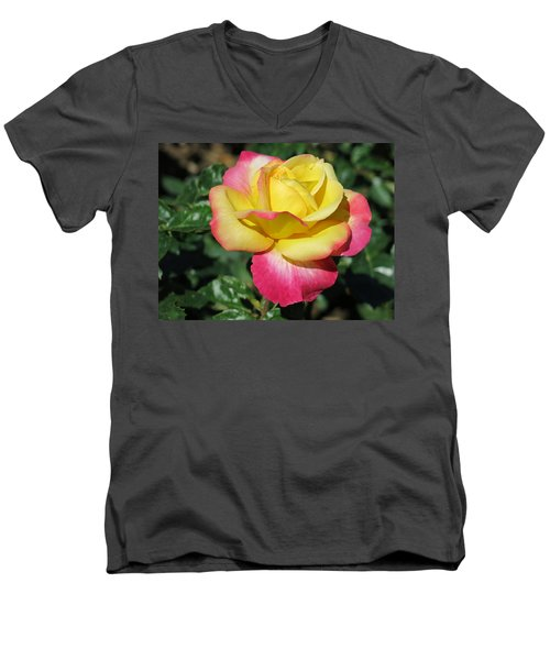 Peace And Love Rose Men's V-Neck T-Shirt by Betty Buller Whitehead