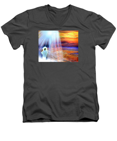 Peace Be With You Men's V-Neck T-Shirt by Patricia L Davidson