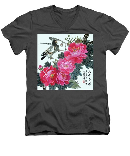 Men's V-Neck T-Shirt featuring the photograph Peace Flowers by Yufeng Wang