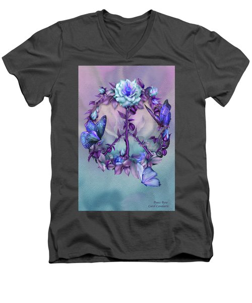 Men's V-Neck T-Shirt featuring the mixed media Peace Rose - Blue by Carol Cavalaris