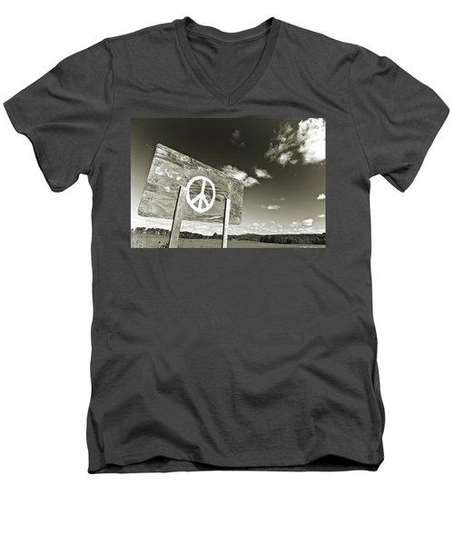 Peace Sepia Men's V-Neck T-Shirt