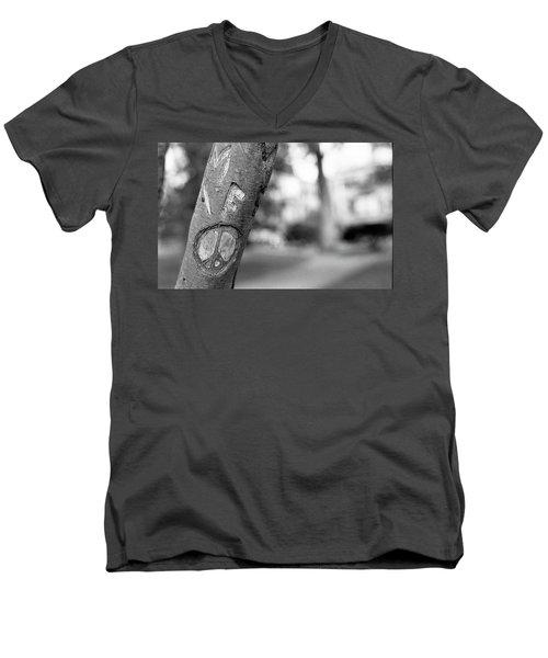 Peace Sign Carving, 1975 Men's V-Neck T-Shirt