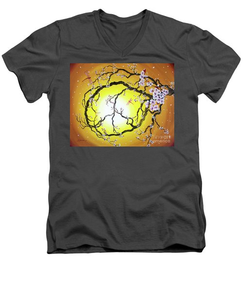 Peace Tree In Golden Glow  Men's V-Neck T-Shirt by Laura Iverson