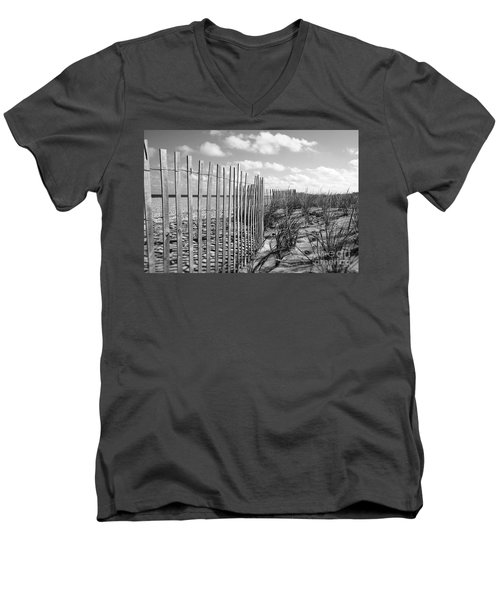 Men's V-Neck T-Shirt featuring the photograph Peaceful Beach Scene by Denise Pohl