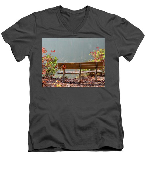 Peaceful Bench Men's V-Neck T-Shirt by George Randy Bass