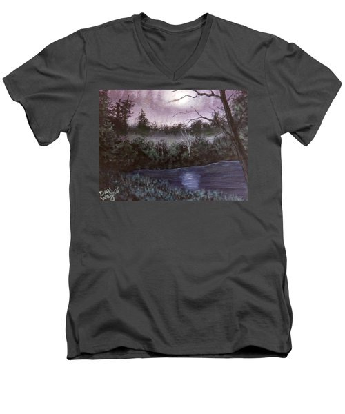 Men's V-Neck T-Shirt featuring the painting Peaceful Pond by Dan Wagner