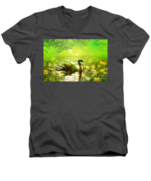 Peaceful Swan In Lake With Flowers Men's V-Neck T-Shirt by Annie Zeno
