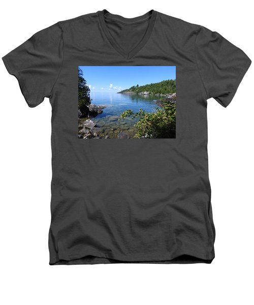 Peaceful Tranquilty_ Surrounded By Danger Men's V-Neck T-Shirt by Janice Adomeit